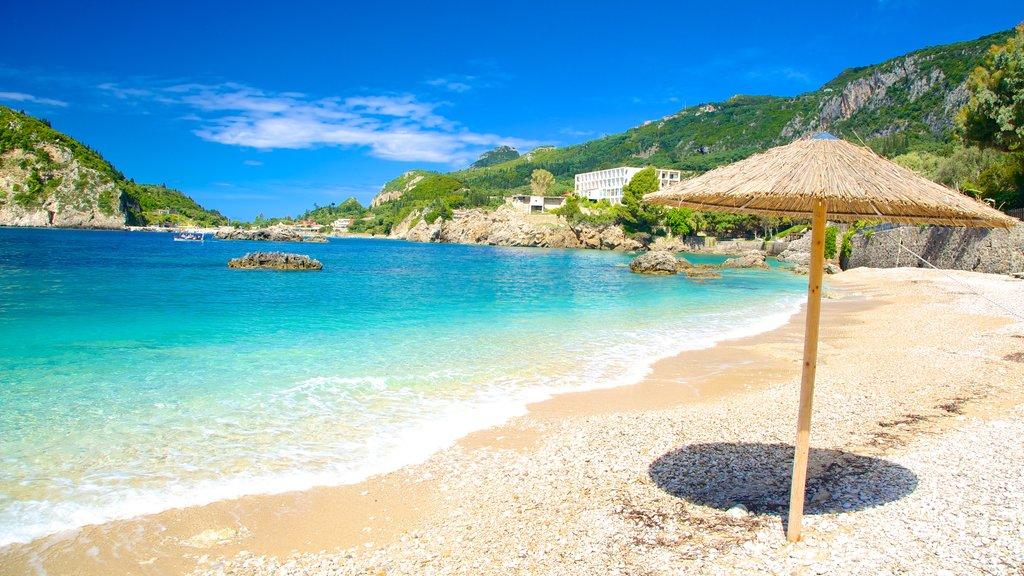 Paleokastritsa Beach featuring a pebble beach