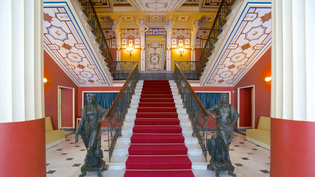 Achilleion which includes a statue or sculpture, interior views and chateau or palace