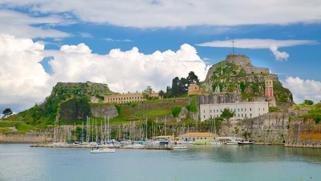 Port of Corfu featuring landscape views, a coastal town and a marina