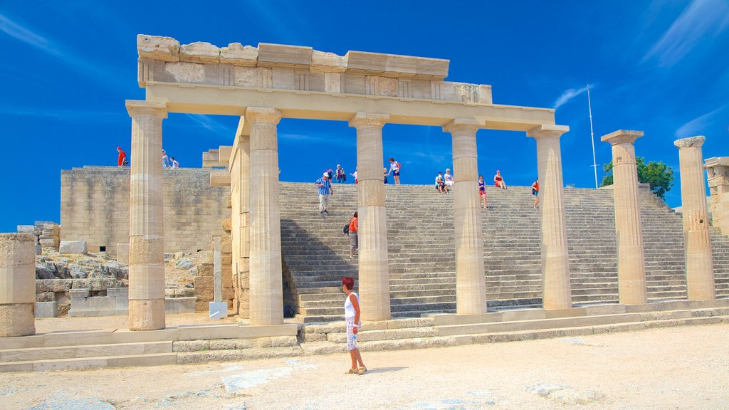 Acropolis of Lindos which includes heritage architecture and a ruin