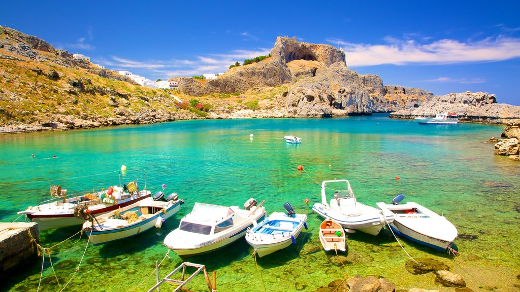 Lindos which includes a bay or harbor
