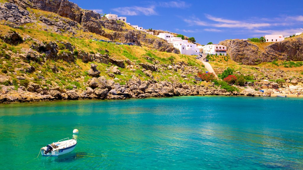 Lindos featuring general coastal views and rugged coastline