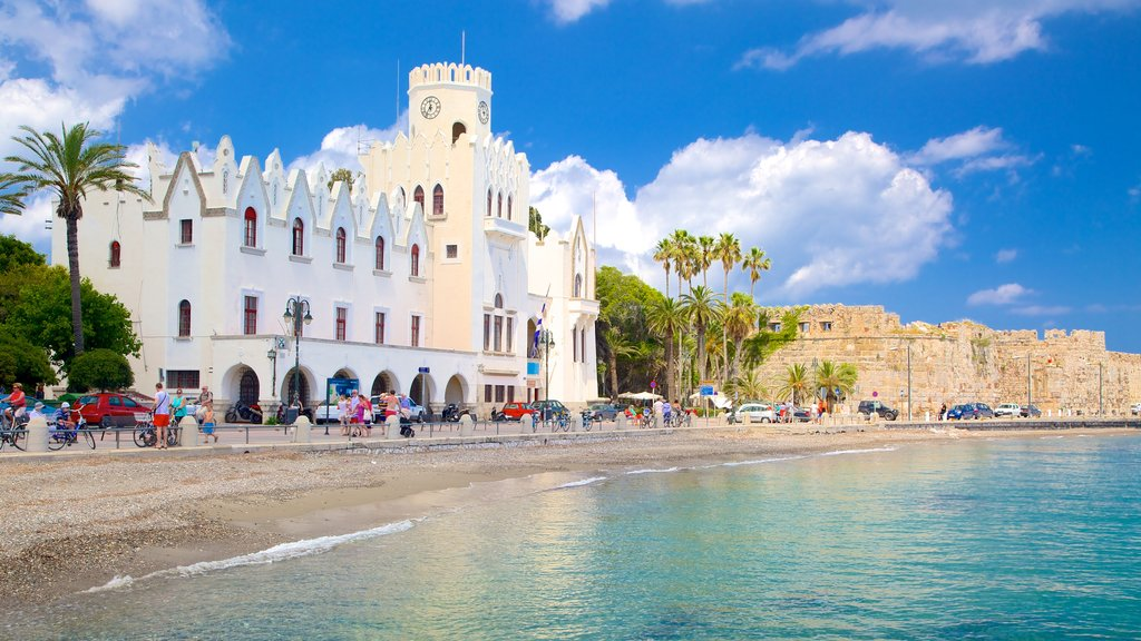 Kos which includes a coastal town and a castle