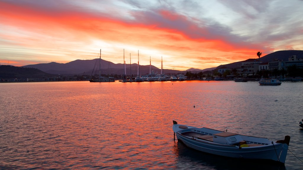 Nafplio which includes a bay or harbor, a sunset and general coastal views