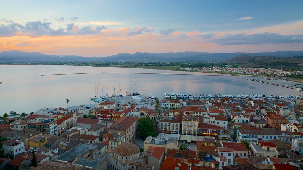 Nafplio showing a coastal town, heritage architecture and a marina