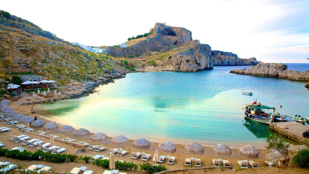 Lindos featuring a bay or harbor