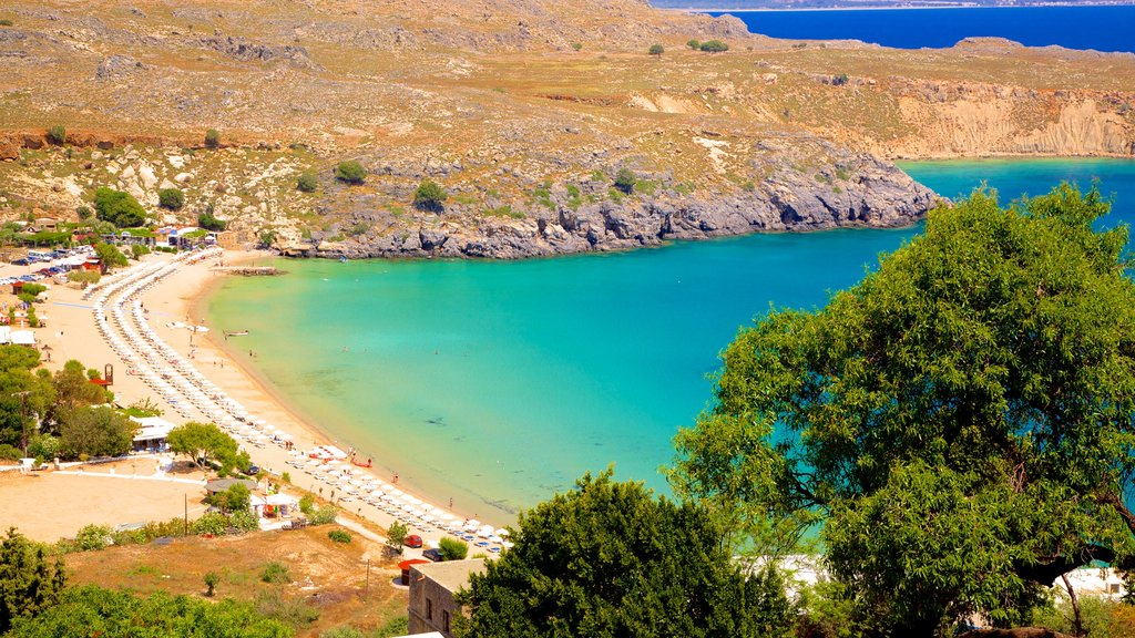 Lindos Beach featuring general coastal views and a sandy beach
