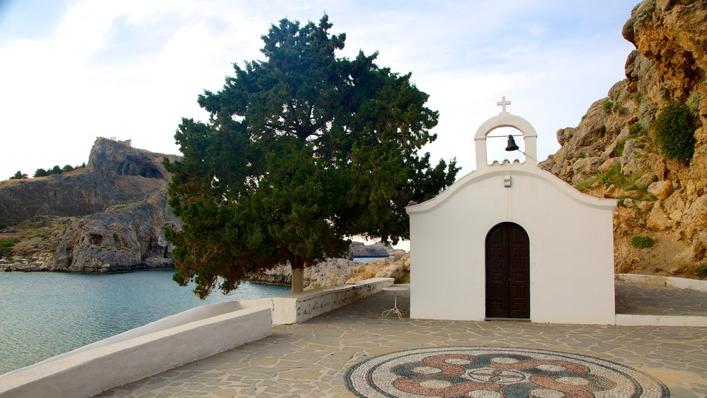Rhodes Island showing general coastal views, religious aspects and a church or cathedral