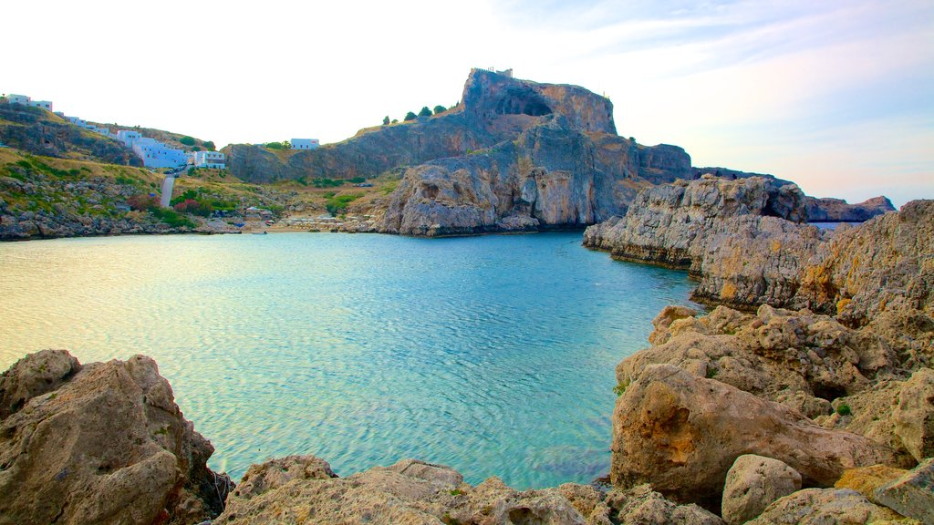 Rhodes Island which includes a bay or harbor and rocky coastline
