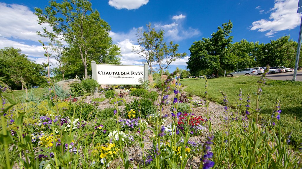 Chautauqua Park showing signage, a garden and flowers