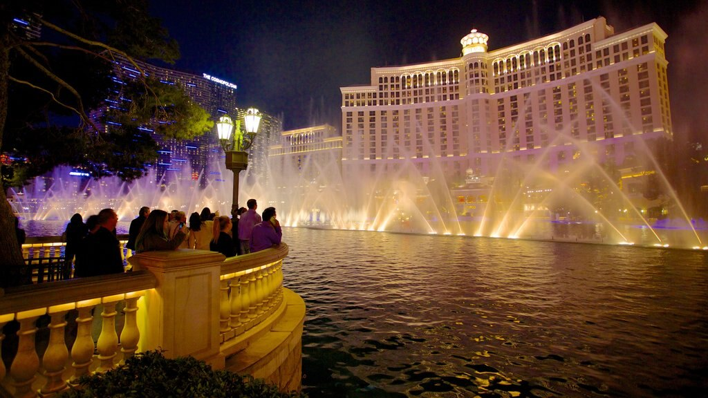 Nevada featuring nightlife, night scenes and a fountain