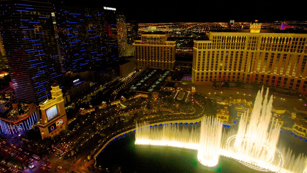 Nevada which includes a fountain, a city and night scenes