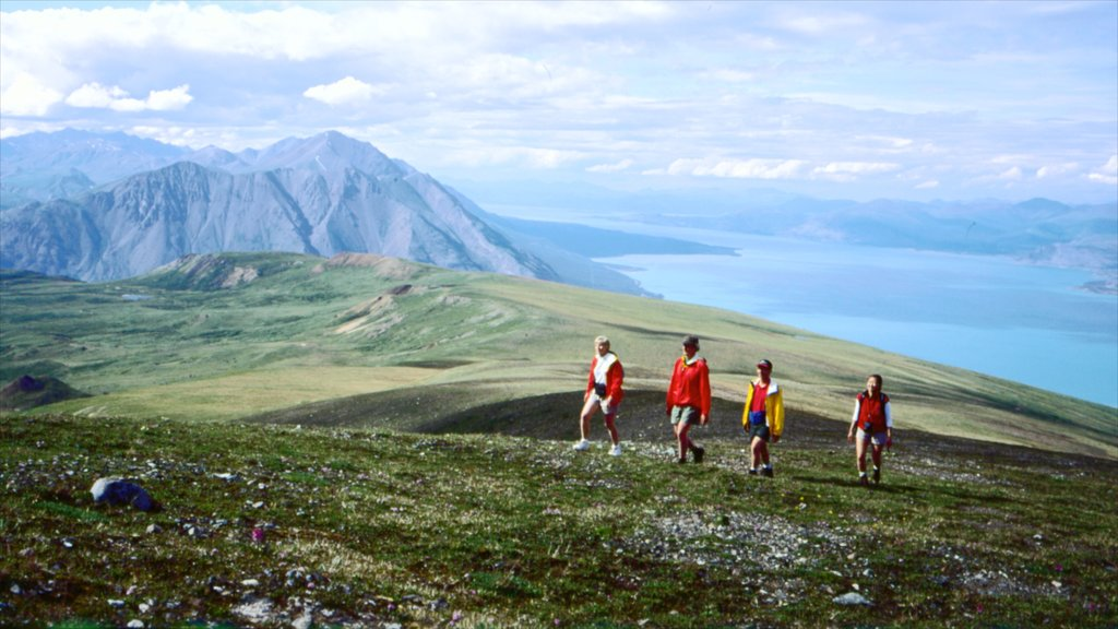 Yukon featuring hiking or walking as well as a small group of people