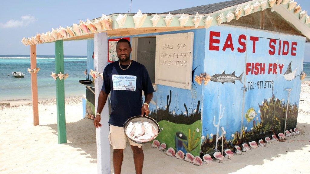Gran Caimán mostrando una playa de arena, señalización y un bar de playa