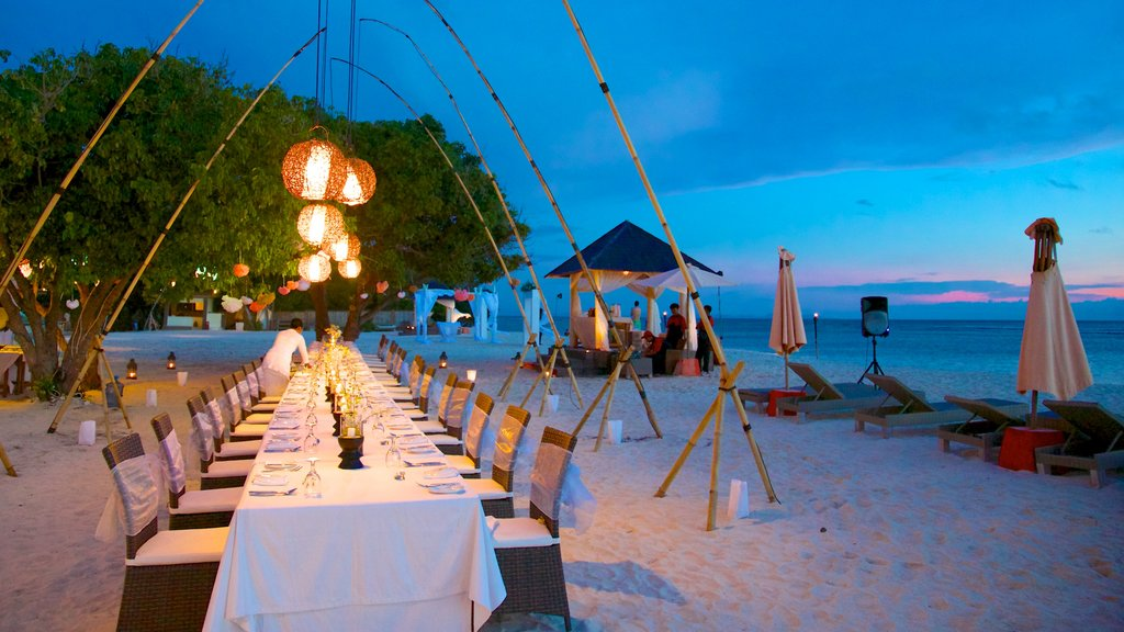Gili Islands featuring dining out, a sunset and landscape views