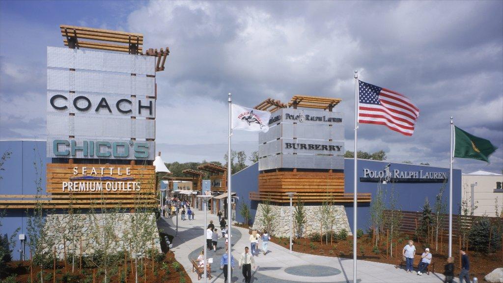 Marysville mostrando señalización y arquitectura moderna