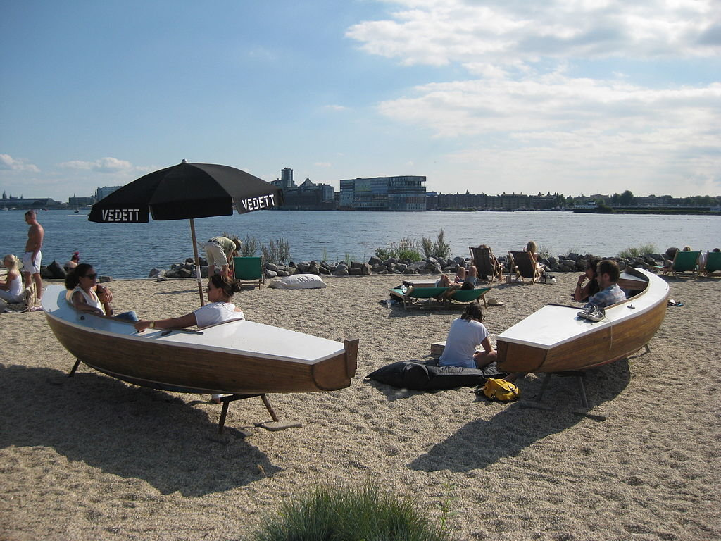 Pllek beach in Amsterdam