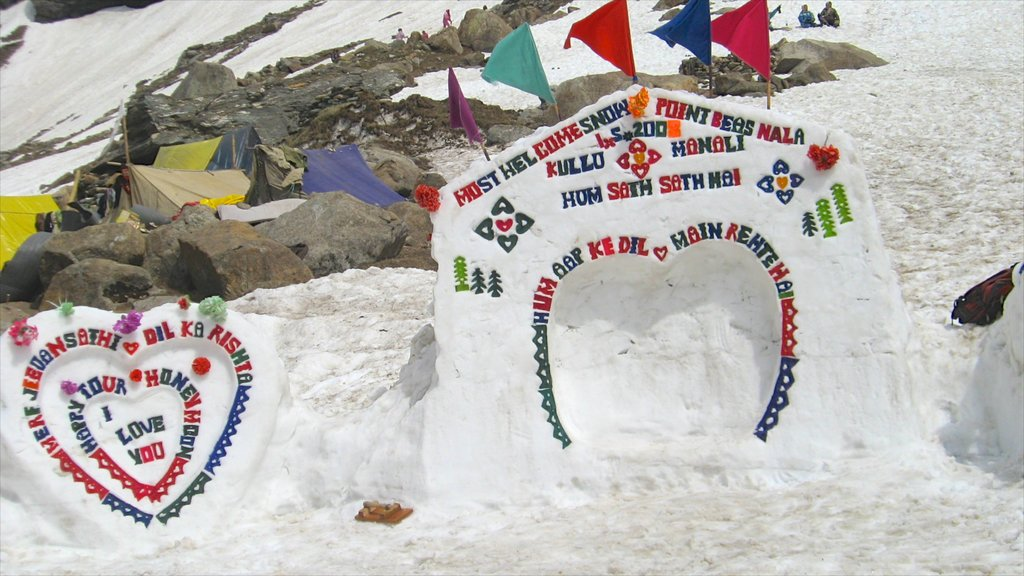 Manali showing outdoor art, signage and snow