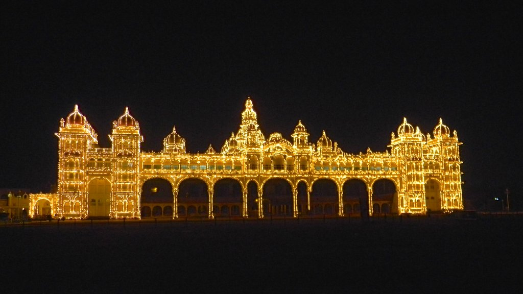 Mysore which includes heritage architecture, night scenes and chateau or palace