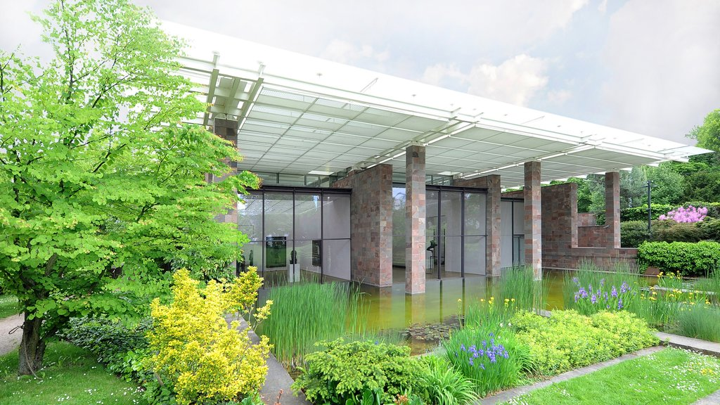 Beyeler Foundation showing flowers, a garden and modern architecture