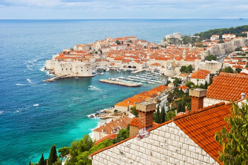 Sea view of traditional houses in Dubrovnik