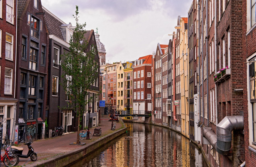 Colourful canals in Amsterdam