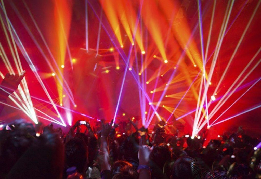 Ibiza nightclub with strobe lights