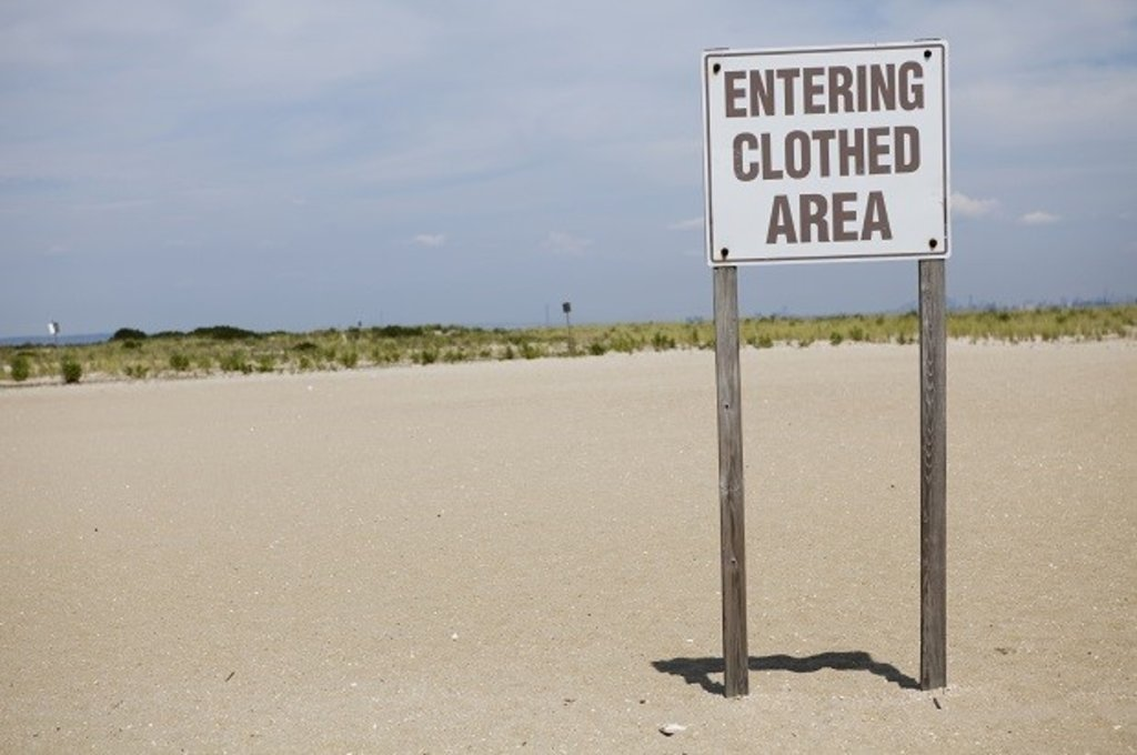 Beach sign - entering clothed area