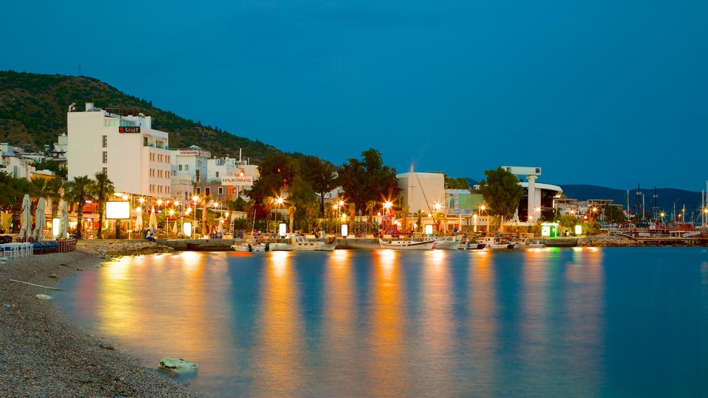 Bodrum Beach which includes a pebble beach and night scenes