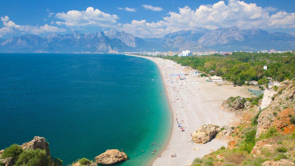 Konyaalti Beach Park featuring landscape views, a coastal town and a beach