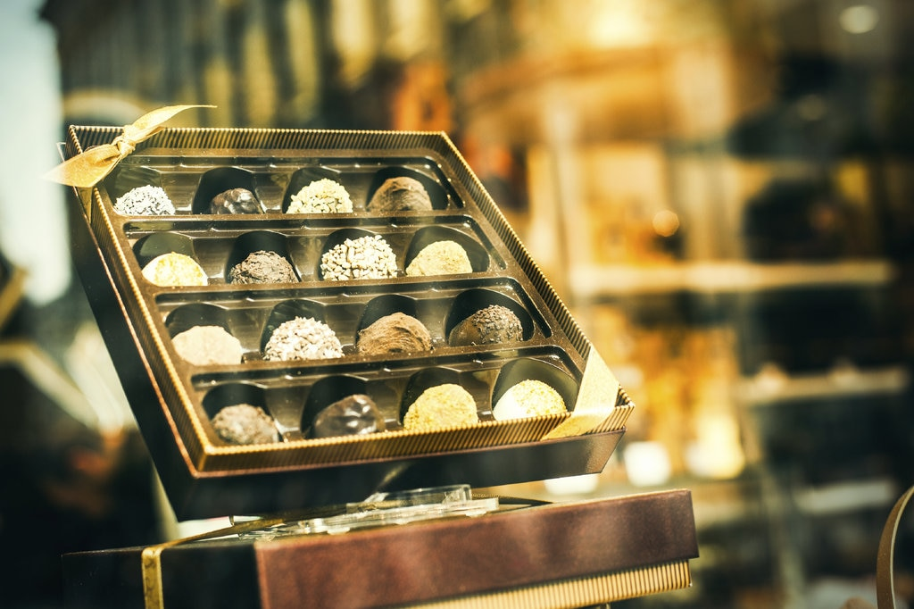 Box of Belgian chocolates in a window