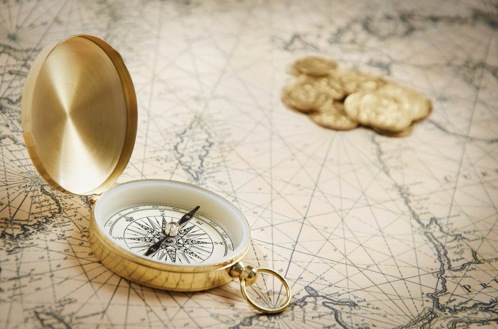 Old fashioned map with compass