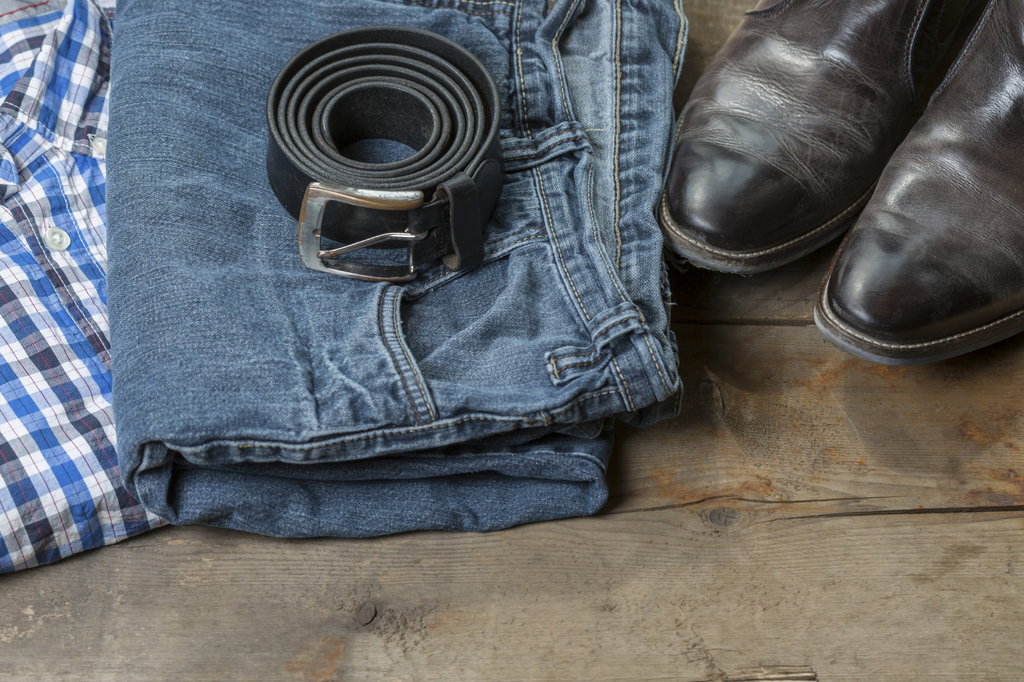 Men's jeans, shoes, shirt and belt