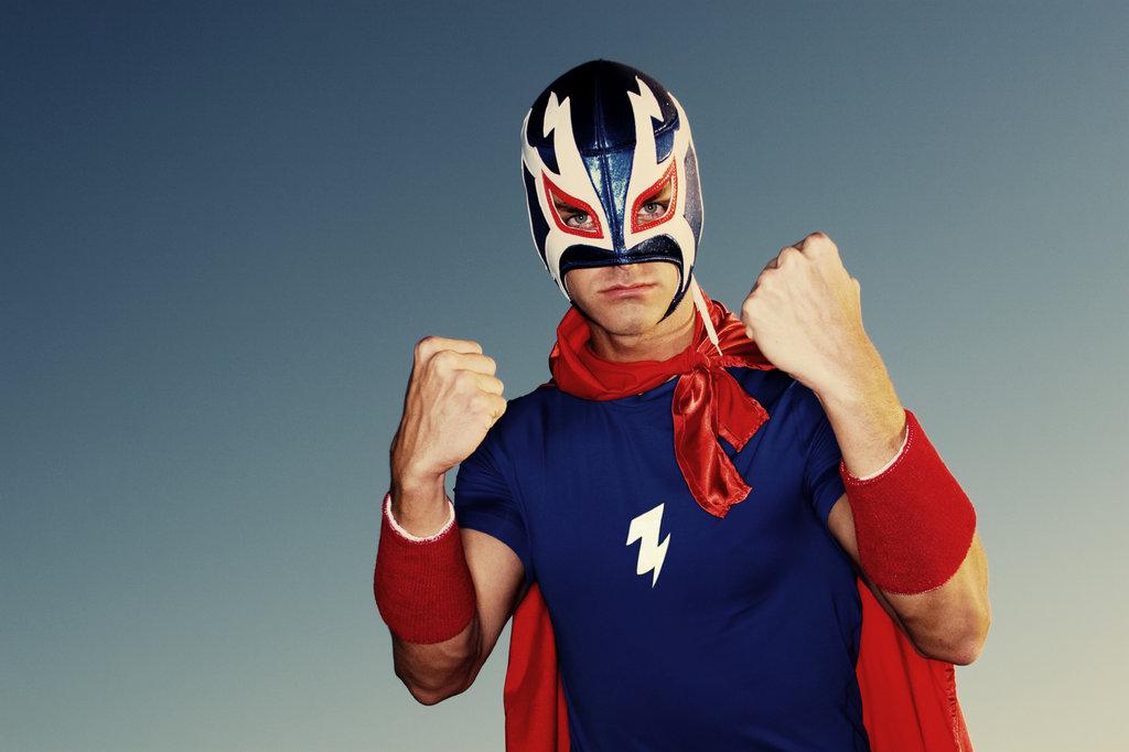 Man dressed as a wrestler