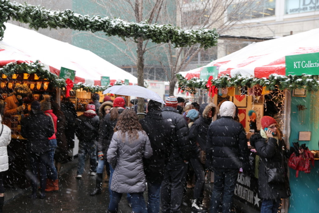 Union Square Holiday Market in the snow. Image by Mack Male.