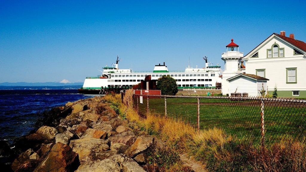 Mukilteo featuring rugged coastline, cruising and a lighthouse