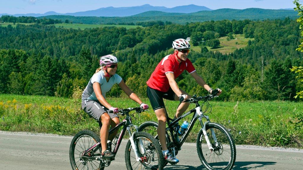St. Johnsbury featuring mountain biking as well as a couple