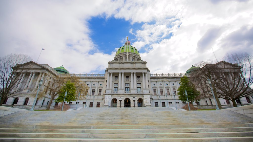 Pennsylvania State Capitol which includes a square or plaza, heritage architecture and an administrative buidling
