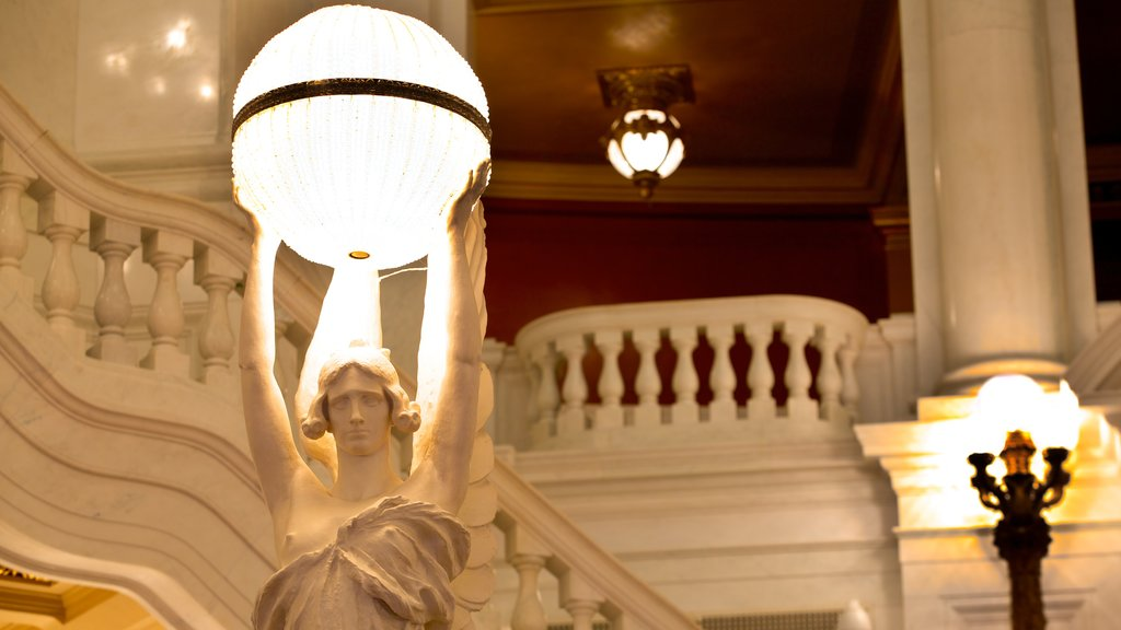 Pennsylvania State Capitol showing interior views and a statue or sculpture