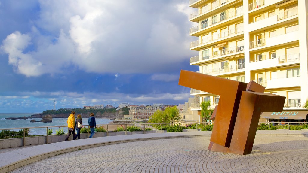 Biarritz featuring outdoor art and general coastal views