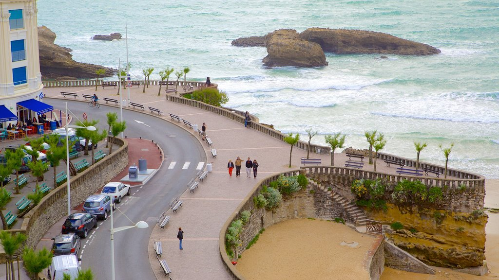 Biarritz which includes a coastal town and rugged coastline