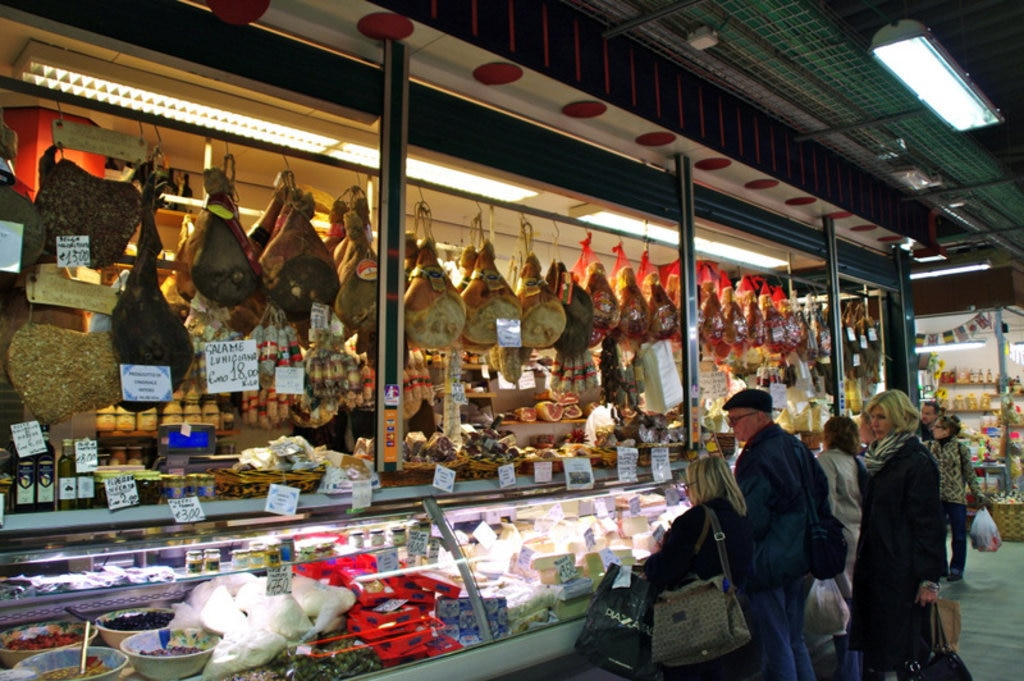 Cheese and cured meats for sale at Mercato Centrale. Image credit: stevekc.