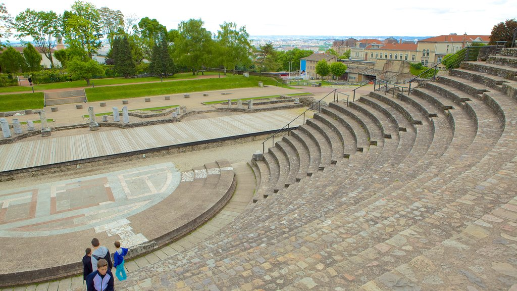 Roman Theatres of Fourviere featuring heritage architecture and theater scenes