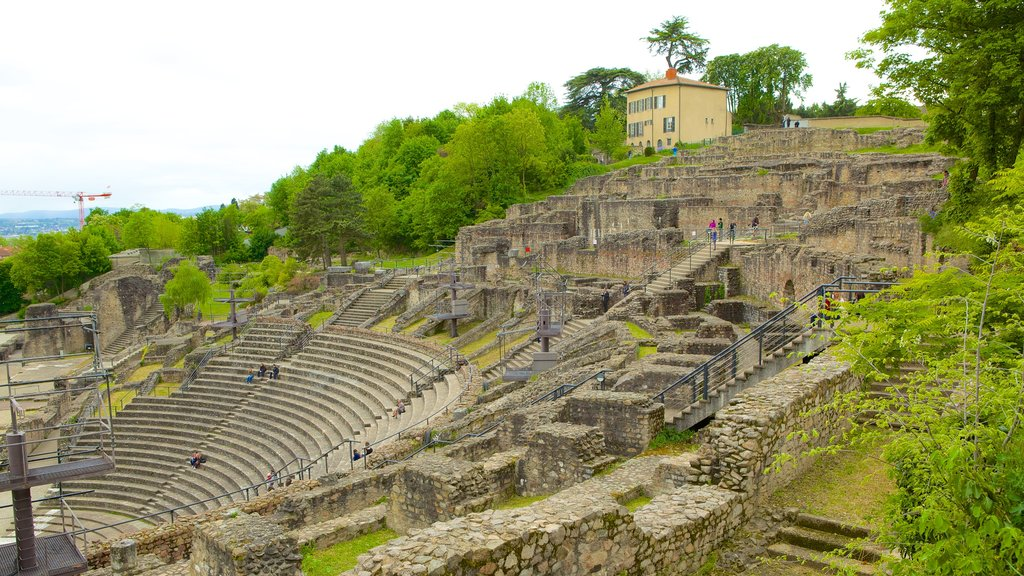 Roman Theatres of Fourviere showing building ruins