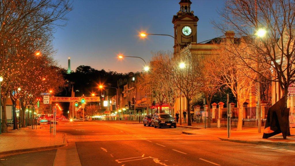 Albury featuring night scenes and street scenes