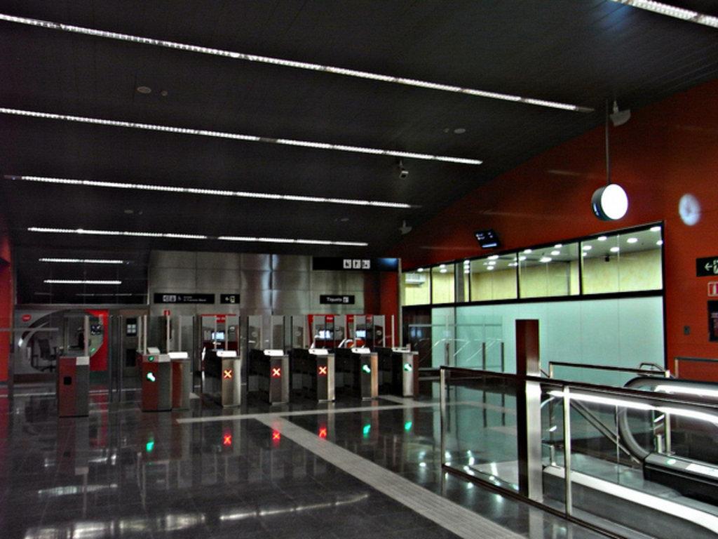 Inside a Barcelona metro station