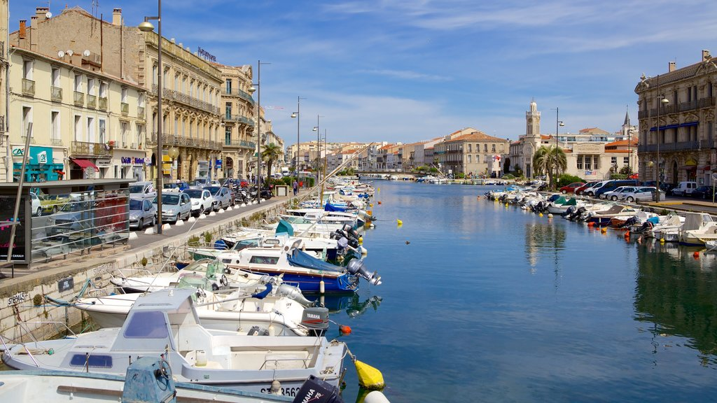 Sete featuring a bay or harbor, boating and a river or creek