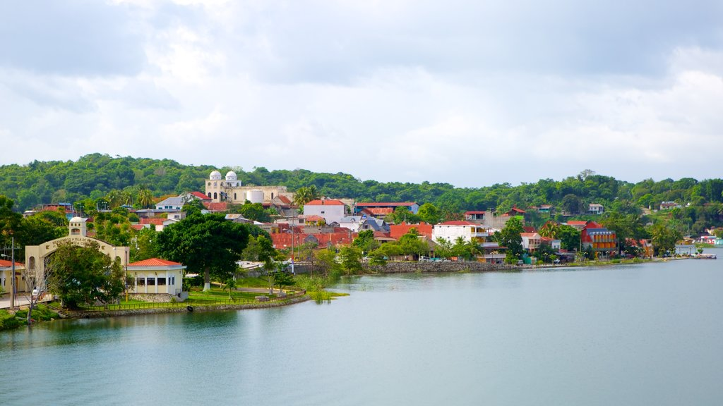 Flores featuring a coastal town