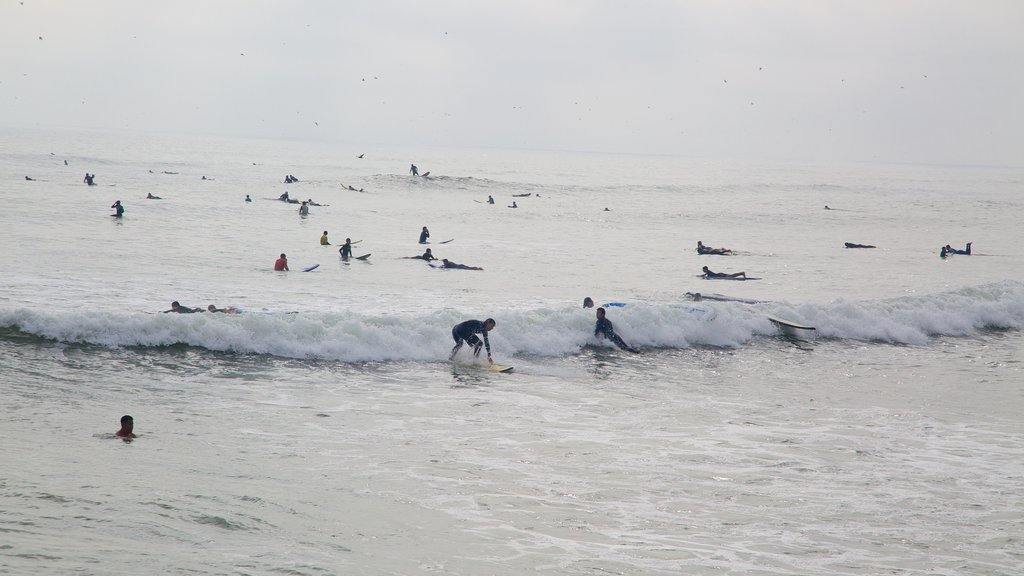 Lima featuring surfing and waves as well as a large group of people