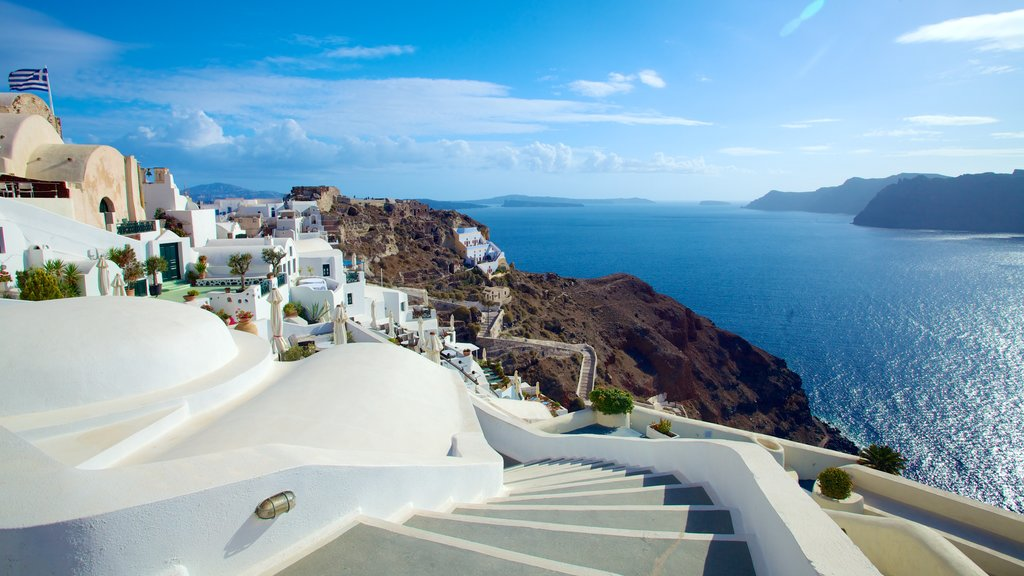 Oia featuring landscape views, a coastal town and general coastal views